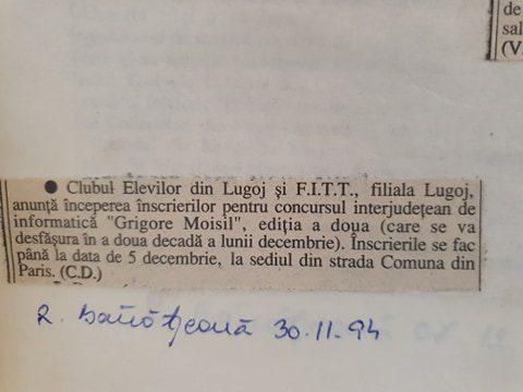 """Concursul interjudețean de informatică """"Grigore Moisil"""""""