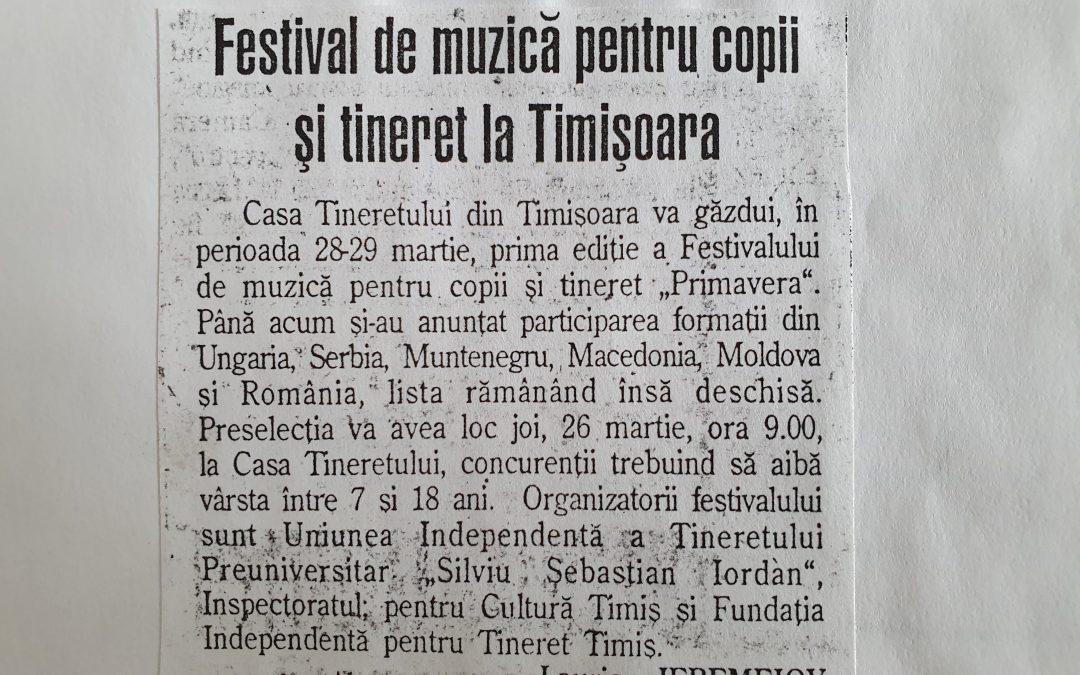 """Festival de muzică pentru copii și tineret """"Primavera"""""""