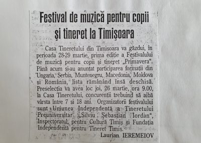 Festivalul de muzică pentru copii și tineret Primavera