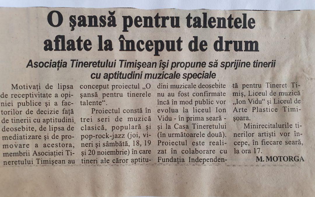 O șansă tinerelor talente